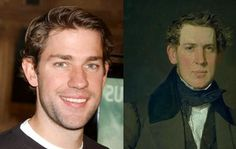 more time traveling celebrities-1835 Dutch painting compared to John today