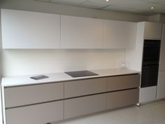 German Handleless kitchen white and Nougat