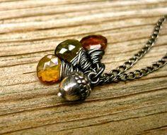 Fall Necklace , Silver Acorn Necklace , Autumn Tourmaline Necklace , Best Selling Necklace, Amy Fine Design