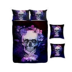 Sugar Skull Duvet Set Comforter Cover Bedding by FolkandFunky