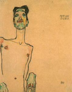 So, Erwin Osen (also known as Dom Osen and Mime van Osen) was a friend of Egon Schiele's, and as seen in the second painting here, he was painted by the artist. Dessins Egon Schiele, Egon Schiele Drawings, Life Drawing, Figure Drawing, Drawing Sketches, Drawing Hands, Gouache Painting, Painting & Drawing, Art Emo
