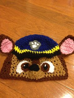 Paw Patrol Chase Beanie Paw Patrol Beanie Paw Patrol Costume Chase beanie by passion4craftin on Etsy