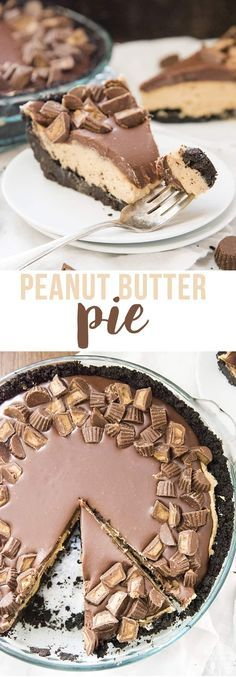 Peanut Butter Pie is a delicious no bake dessert, with an oreo crust, and creamy peanut butter filling, all topped with a rich chocolate ganache and peanut butter cups. peanut butter chocolate for peanut butter lovers peanut butter with peanut butter easy Peanut Butter Filling, Peanut Butter Desserts, Köstliche Desserts, Peanut Butter Cups, Delicious Desserts, Dessert Recipes, Chocolate Peanut Butter Dessert, Butter Crust, Birthday Desserts