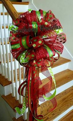 Christmas Tree Topper~ Christmas Mailbox Bow~ Chevron Red Lime Green Christmas Tree Topper~Holiday Decoration  This large red and lime green Christmas Tree Topper will leave your guests speechless. Bow is made from a 2.5 metallic red and lime green stripe ribbon, a 2.5 red with glitter ribbon, a 1.5 line green with white polka dots and a 2.5 red white glitter lime green polka dots. All ribbons are wired for reshaping if needed.  A total of 35 large individual loops shimmer with color and…