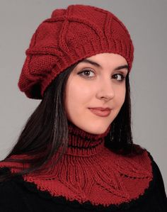 Free Knitting Patterns - Beret and Dicky in Textured Pattern Knitting Stitches, Knitting Patterns Free, Knit Patterns, Free Knitting, Free Crochet, Knit Crochet, Holiday Crochet Patterns, Knitted Beret, Quick Knits