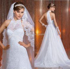 Discount Vestido De Noivas 2014 New Arrival Lace Beaded Sash Backless Wedding Dresses Button High Neck Bridal Gown Via Sposa SAIGON Wedding Dress Online with $124.61/Piece | DHgate
