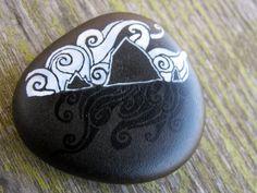 Haystack rock painted beach pebble by Pete Sandker