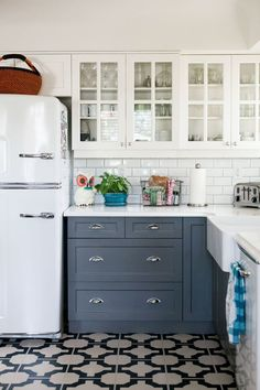 Patterned Tile in Kitchen & Grey-Blue Cabinets | www.thefoxandshe.com