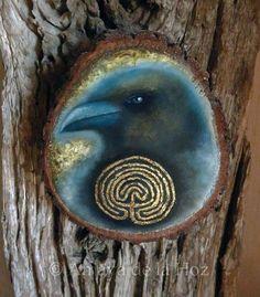 """Access to Labyrinth"", original oil painting on wood with gold leaf. By SecretaShop.  © Amaya de la Hoz"