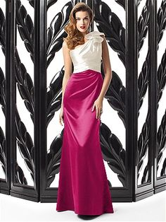 So sophisticated!  DESSY COLLECTION STYLE 2867 $250.00 One shoulder full length matte satin dress w/ shaped ruffle detail at shoulder and pleated trim at empire waist. Trumpet skirt. Sizes available 00-30W, and 00-30W extra length.http://www.modelbride.com/Dessy-Collection-Style-286720130510072005-Prodview.html