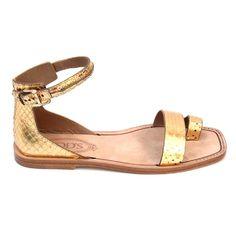 Gold 36 EUR - 6 US (241mm) Tods ladies flat sandal XXW0PK0E300TLMG209