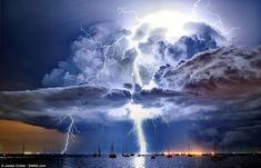 Lightning illuminates a cumulonimbus cloud over Corio Bay, Victoria, Australia by James Collier