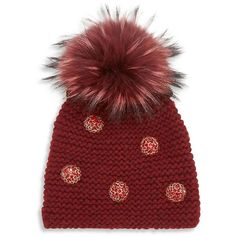 Jennifer Behr Narcissus Fox Fur Pom-Pom & Crystal-Trim Cashmere Beanie ($860) ❤ liked on Polyvore featuring accessories, hats, apparel & accessories, ruby, fox beanie hats, pom beanie, beanie hat, fox hats and pom pom beanie