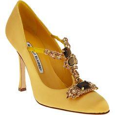 Manolo Blahnik Poznan ($479) ❤ liked on Polyvore featuring shoes, pumps, heels, yellow, manolo blahnik, women, yellow pumps, high heel mary jane pumps, yellow mary janes and t strap mary jane pumps