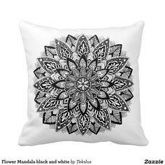 Flower Mandala black and white Pillows