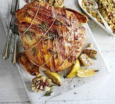 Italian-style turkey crown with roast garlic & pancetta & lemon ciabatta stuffing