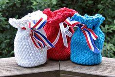 Crochet Patriotic Potpourri Sachet / Gift Bag by HandmadeByAnnabelle