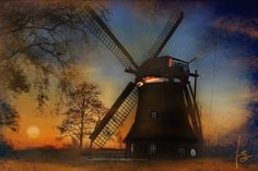 A typical windmill in the norther part of germany.  Photos mjb_germany.