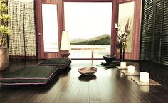 Meditation room design at home with candles