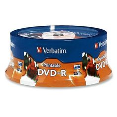 Verbatim DVD-R, 4.7GB, 16X, Inkjet/Hub Printable, Spindle, 25 per Pack, White