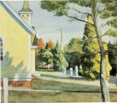 """Church in Eastham"" Peinture de l'artiste Edward Hopper Manet, Edouard Vuillard, Edward Hopper Paintings, Francis Picabia, Toulouse, American Artists, Oeuvre D'art, Les Oeuvres, Impressionism"