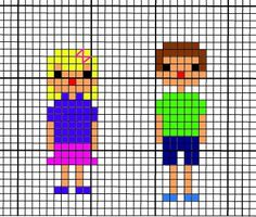 Family Portait Cross Stitch Pattern--little boy and little girl