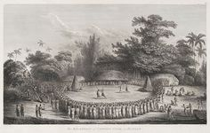 "Drawing by John Webber, Engraved by Heath - From ""The Voyages of Captain Cook"", The Reception of Captain Cook in Hapaee (Tonga), 1776-1780"
