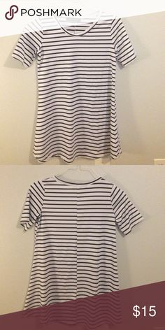 Striped shift / swing shirt Bought about a month ago, but it's too small for me. There's no tag that says the material, but it feels like polyester. Tops Tees - Short Sleeve