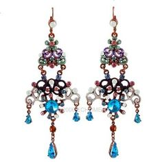 Blue Earrings Crystals Chanderlier Long Vintage Style : 	$7