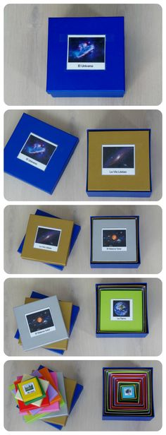 Montessori Universe nesting boxes with printables (scroll down for English - Montessori en Casa)