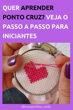 Ponto Cruz para Iniciantes Creative Embroidery, Embroidery Hoop Art, Diy And Crafts, Crafts For Kids, Sewing Hacks, Coin Purse, Cross Stitch, Crochet, Pitaya