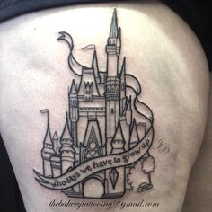 Image result for disney castle tattoo on thigh