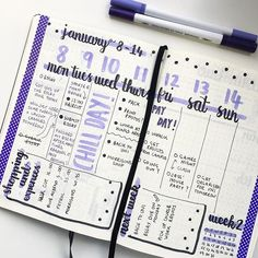 Had a slightly different layout this week which I loved, used washi tape too (still loving the purple theme) ▫️ ▪️ ▫️ ▪️ #bizzyb10doodles #bulletjournal #bullet #journal #bujo #blog #drawing #doodle #doodles #leuchtturm1917 #tombow #2018 #newyear #january #colour #purple #secondweek #weeklylog #tasks #todo #expenses #shopping #nextweek #washitape