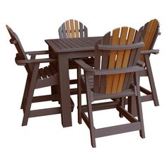 Highwood Hamilton Recycled Plastic 5 Piece Square Counter Height Adirondack Patio Dining Set - AD-CNA44-TOB