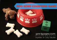 Dog bone counting game for pre-k, preschool, and kindergarten using dog bowls and dog bone erasers. Make learning math skills fun with this hands-on activity. Math Games, Math Activities, Preschool Activities, Go Dog Go, Classroom Pets, Boredom Busters For Kids, Pre K Pages, Counting Games, 3d Figures