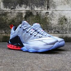 new products 98b31 fd0cd Special edition Nike LeBron 12 Low featuring metallic silver, crimson and  blue.