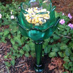 Thrift store glassware DIY bird feeder