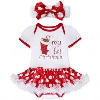 8b3e85ad39a3 iEFiEL Baby Girls Santa Ruffle Tutu Romper with Headband First Xmas Outfit  Xmas Stocking Months