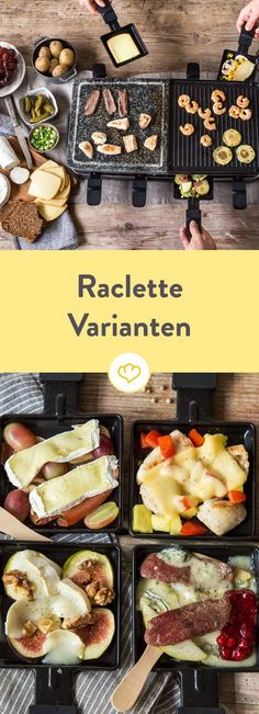 Raclette zubereiten: Von geschmolzenem Käse und heißen Pfännchen What's New Year's Eve? Raclette, of course! So that you are optimally prepared and nothing goes wrong, you will find everything here for the perfect raclette evening. Raclette Party, Raclette Recipes, Brunch Recipes, Meat Recipes, Cooking Recipes, Raclette Ideas Dinner Parties, Raclette Cheese, Cheese Food, Snacks Recipes