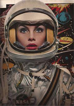 retro futuristic girl, Harper's Bazaar, April Jean Shrimpton. Art Vintage, Vintage Space, Retro Art, Arte Sci Fi, Sci Fi Art, Retro Kunst, Space Girl, Space Age, Armadura Medieval