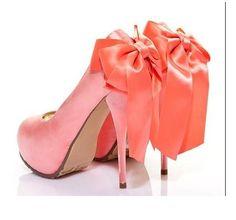 coral heels w/ bow Coral Heels, Cinderella Shoes, Classy And Fabulous, Wedding Shoes, Dream Wedding, Wedding Dress, Christian Louboutin, Pumps, Stilettos