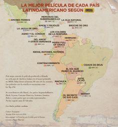 Un mapa con las mejores películas latinas por país (según IMDb). Si no saben qué mirar el fin de semana que viene, aquí les dejamos un mapita con las mejores películas latinoamericanas según el sitio IMDb. ¡Que se diviertan!