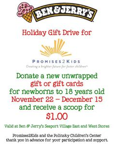 This holiday season, the good people of Ben & Jerry's Seaport Village and San Diego Burger Company have teamed up to collect toys for Promises2Kids. Here's how you can help donate too- bit.ly/1vm2jt2  #seaportvillageholiday