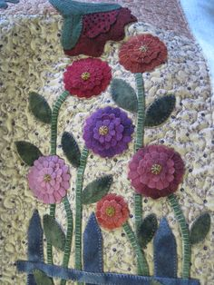 textured wool flowers