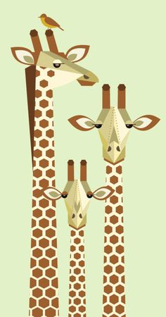 Geometric shapes are the best for animal prints! Giraffe family art print by Scott Partridge