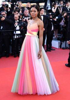 We're loving all of the Cannes red-carpet looks. Naomi Harris looks amazing in this rainbow Gucci dress