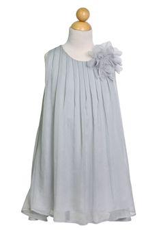 Chiffon Pleaded Dress with Flower