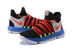 detailed look c4216 6d81a New Kevin Durant Nike KD 10 Black Red-Cool Grey-Blue Mens Basketball Shoes  2018 Wholesale