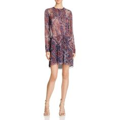 Love Sam Paisley Shirt Dress (€290) ❤ liked on Polyvore featuring dresses, paisley print, chiffon dresses, paisley dress, t-shirt dresses, tie waist dress and pintuck dress