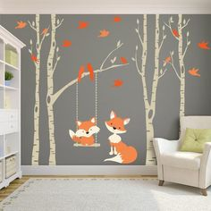 Woodland Nursery FOX & Trees Wall Decal 4 Birch Trees Nursery Decor Baby FOX Decal Swings from Branch Wall Decal Forest Baby Bedroom - 4 Removable Vinyl Decal River Birch TREES with 6 branches, and 1 swing in the color of your choice - Baby Bedroom, Baby Room Decor, Wall Decor, Church Nursery Decor, Bedroom Wall, Forest Decor, Woodland Nursery Decor, Nursery Trees, Forest Nursery